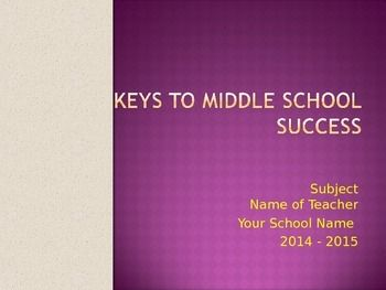 This is a short, colorful powerpoint presentation targeted to Middle School.transition, rules, class expectations etc.to give students guidance in acclamation at the beginning of school. Animations are included.
