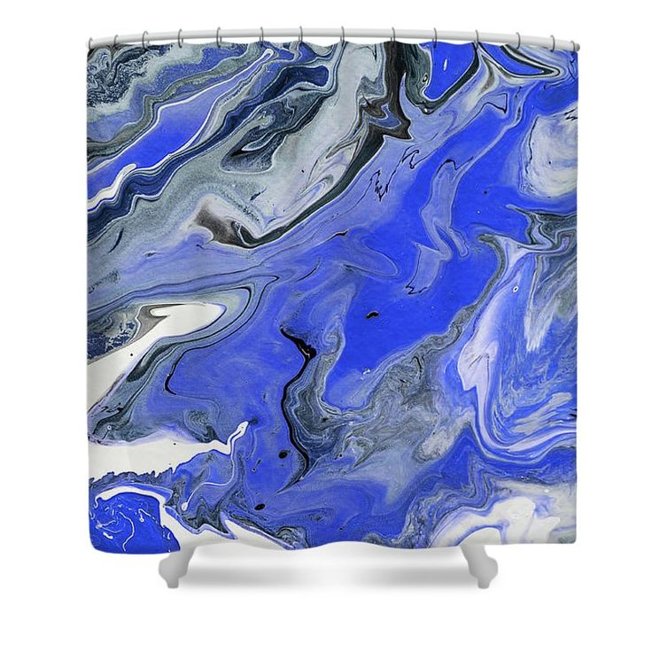 """The Rivers Of Babylon Fragment. 2. Abstract Fluid Acrylic Painting Shower Curtain by Jenny Rainbow.  This shower curtain is made from 100% polyester fabric and includes 12 holes at the top of the curtain for simple hanging.  The total dimensions of the shower curtain are 71"""" wide x 74"""" tall."""