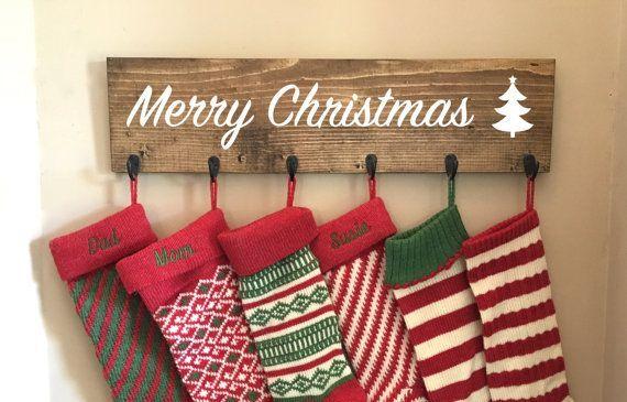 Family stocking hooks, hanging stocking, stocking hanger, reclaimed wood, no mantle, rustic Christmas, stocking holder, stocking holders