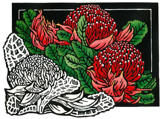 Waratah Classic - Limited Edition Handpainted Linocut by Lynette Weir