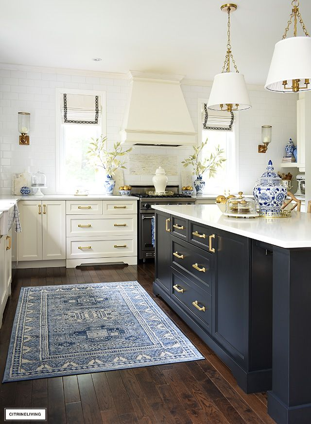 Fall Kitchen Decor In Blue White Gold Citrineliving Design Small