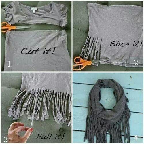 Zelf een lekkere sjaal maken van een oud t-shirt