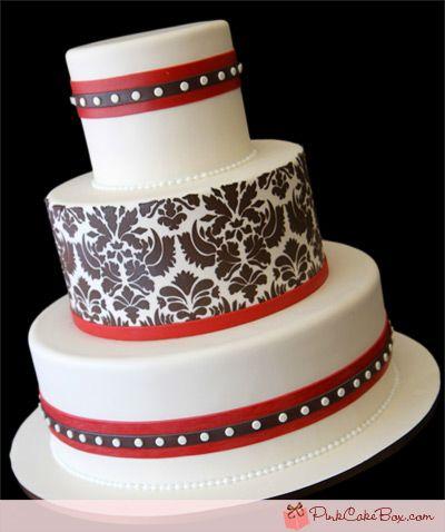 Red Velvet Damask Wedding Cake