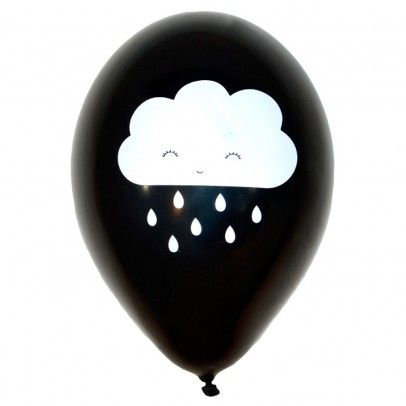 Ballons métalliques imprimés Nuage - Set de 6 Noir  A little lovely company