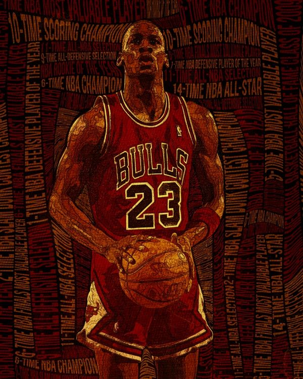 RareInk - NBA | Bulls | Michael Jordan | Original Art Print & Canvas