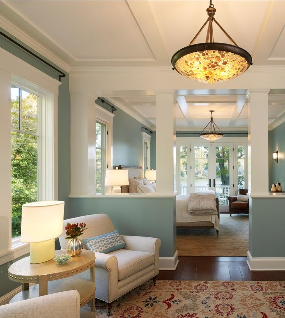 Living Room  Wall colour, rug, warm lighting  Farrow  Ball Lulworth Blue,   Trim: White Tie.  posted by Delorme Designs