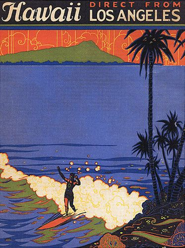 America Hawaii Surf from Los Angeles Beach Surfing Large Vintage Poster Repro | eBay