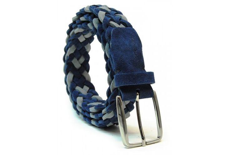 Flechtgürtel weich hochwertiges Veloursleder Blau und Grau von designer Acciaio Alessandro   made in Italy