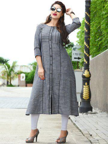 9d16577d37 Mittoo Dark Grey Cotton Denim Kurti in 2019 | Clothes | Denim kurti, Kurti,  Stylish kurtis