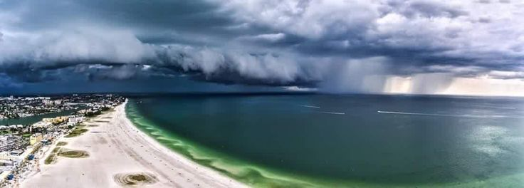 Treasure Island Florida. Storm clouds and rain from Tropical Storm Hermine.