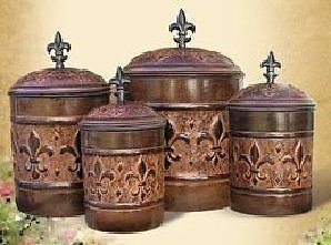 ANTIQUE Copper Fleur de Lis Kitchen Canister Set NEW