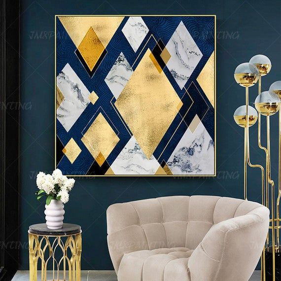 Geometric Art Abstract Paintings On Canvas Art Gold Painting Etsy In 2020 Blue And Gold Living Room Gold Living Room Bedroom Interior