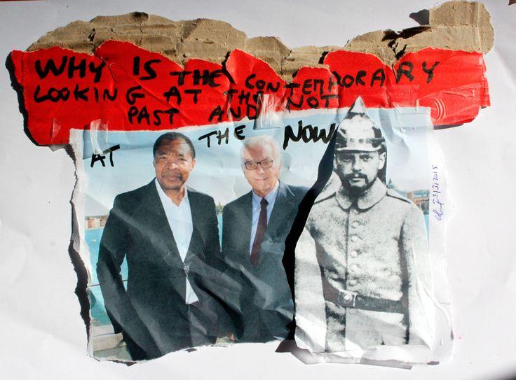 Okwi Ewenzor Y Paolo Baratta En Un Planfleto Que Circula En La Bienal