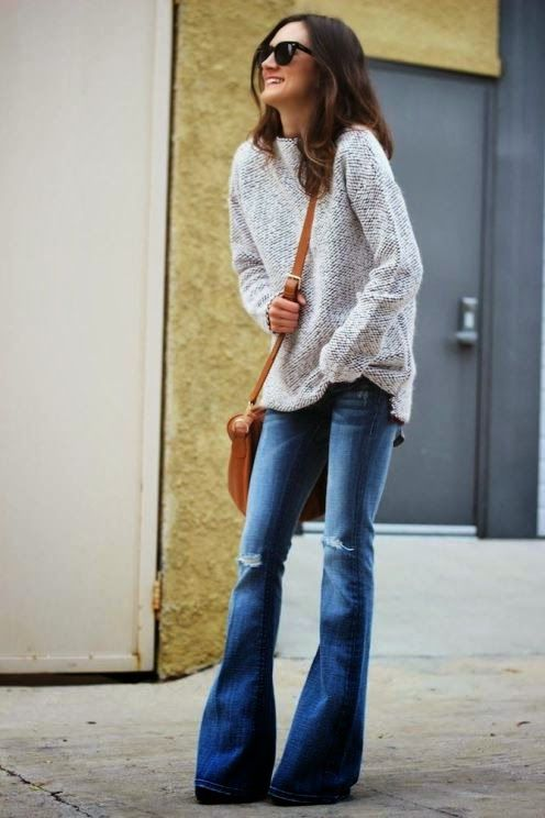 Fashion For Fashion: Fabulous Blue Casual Top Gray Sleeve Sweater I NEED this sweater!!
