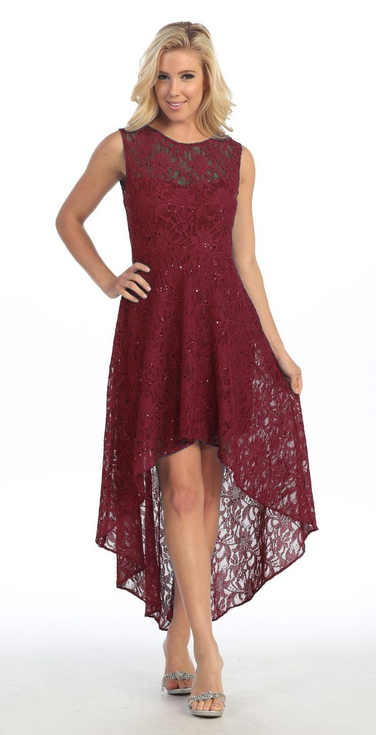 262 best bridesmaidmaid of honour dress ideas images on pinterest high low lace burgundy semi formal dress illusion neck sleeveless ombrellifo Image collections