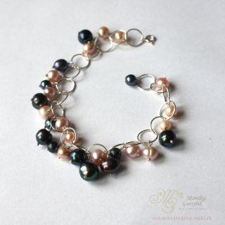 bransoletka perly naturalne w srebrze