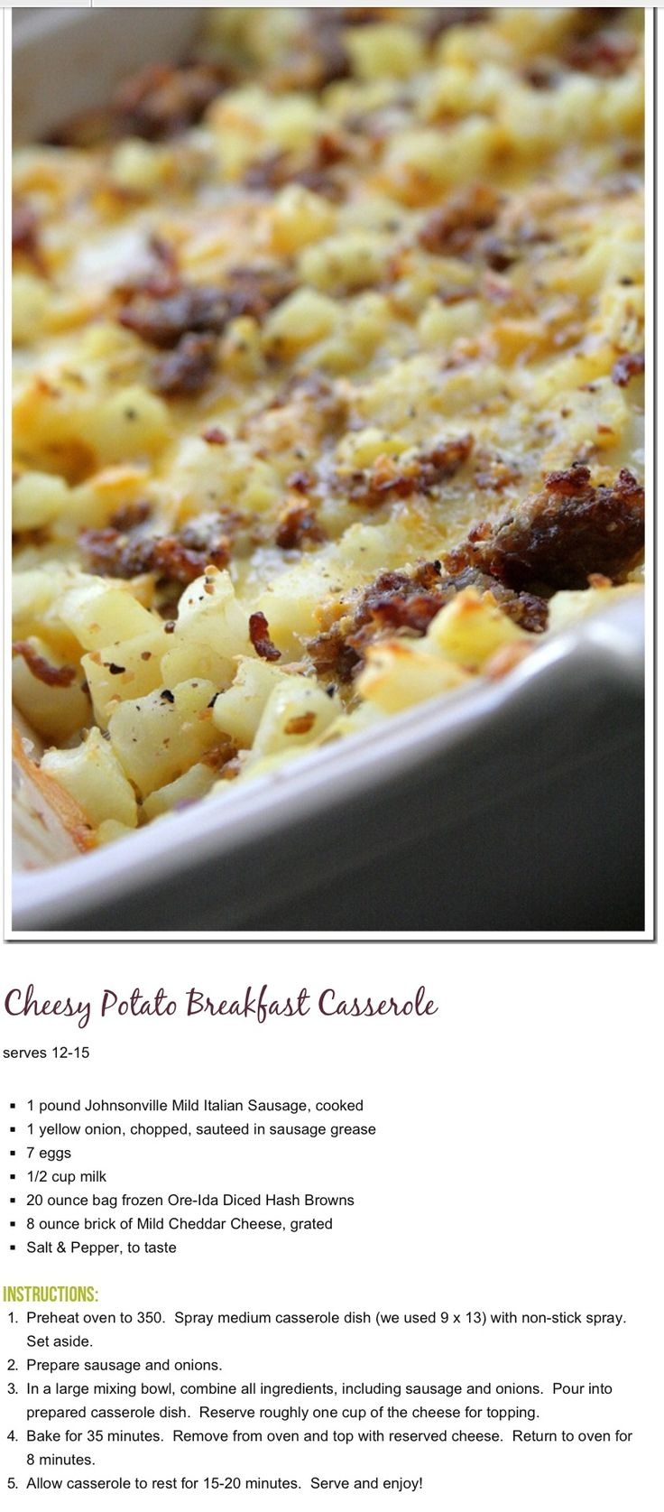 Cheesy potato and sausage breakfast casserole | RECIPES TO TRY ...