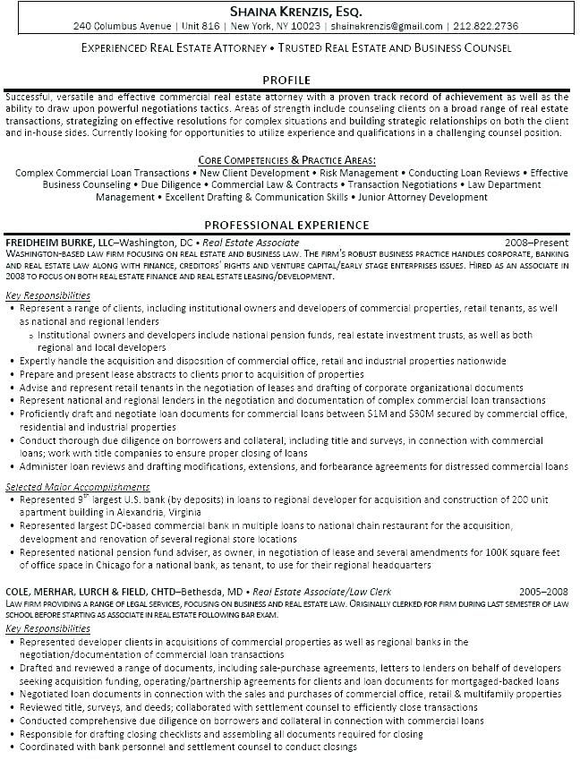 Corporate Resume Examples Real Estate Attorney Mple