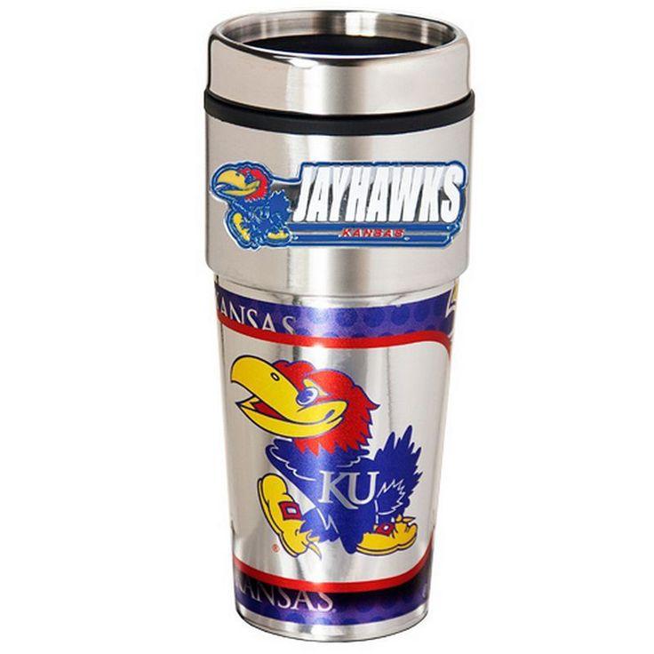 Kansas Jayhawks Stainless Steel Metallic Travel Tumbler, Multicolor
