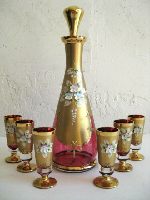 Antique Bohemian Art Glass Ruby Red Cranberry Gilt Enamel Victorian Decanter Set