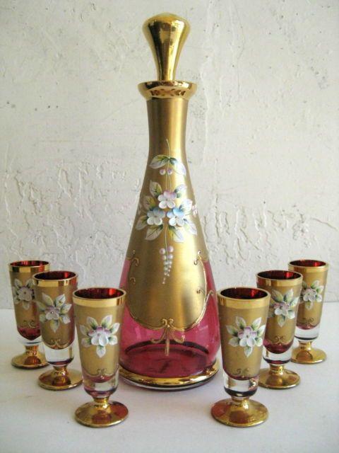 Antique Bohemian Art Glass Ruby Red Cranberry Gilt Enamel Victorian Decanter Set