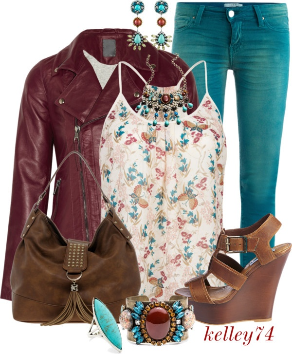 """Colored Jeans for Spring"" by kelley74 ❤ liked on Polyvore #teal #outfit"