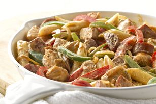 Cajun Skillet-So easy even with just half the ingredients. Sausage,any garden veggies, and half the cooking cream. Great taste!