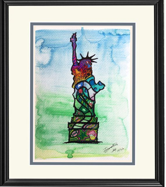 Home Decor: Illustration--Statue of Liberty--USA, of Dream Country Series; limited prints on Etsy, $12.00