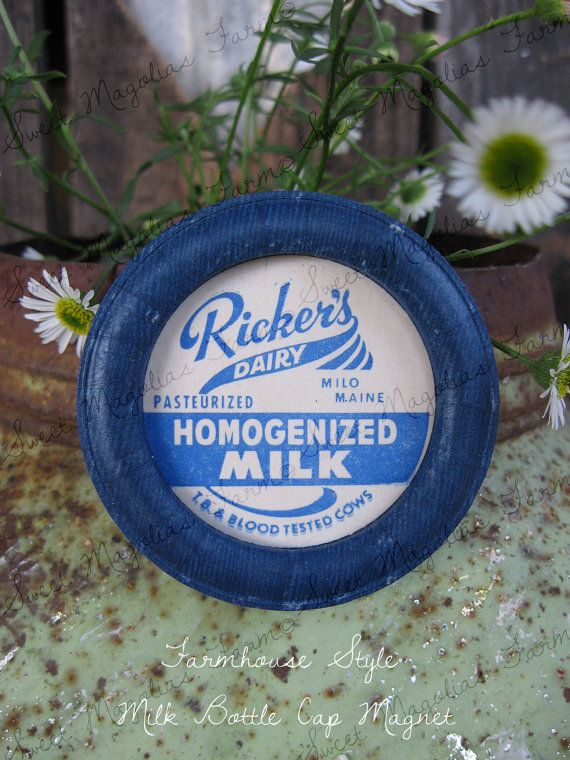 Magnet Vintage Milk Bottle Cap  - Ricker's Dairy Milo Maine - Farmhouse Country Cottage Chic Style on Etsy, $4.75