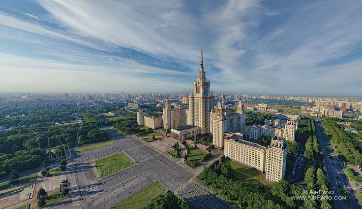 Moscow, Russia. | 360° Aerial Panorama, 3D Virtual Tours Around the World, Photos of the Most Interesting Places on the Earth. Moscow State University. Via airpano.cm.