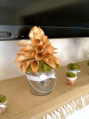 I'm thinking centerpieces or some form of it.  I really like this paper book crafts