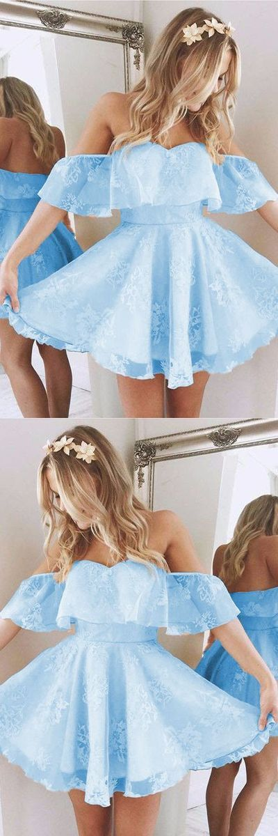 Baby Blue Homecoming Dresses,Short A Line Prom Dresses,Ruffles Shoulder Dress,Cute Party Dress,Summer Dresses,MB 456