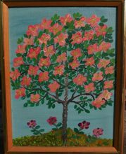HARRY LIEBERMAN (1876-1983) naive style painting of flowering tree by acclaimed Jewish artist