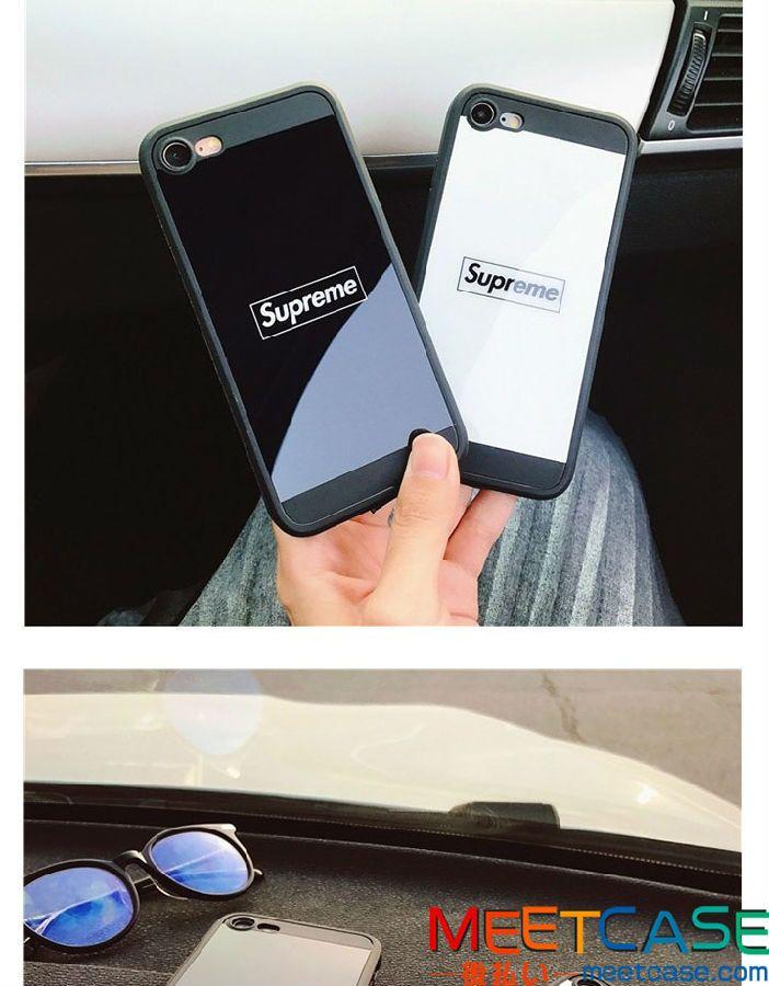 2017年新品 シュプリーム アイフォンケース ペア iPhone7ケース supreme 鏡面 ペア用 ミラー iphone7plus シュプリームケース ブランド SUPREME iphone8ケース シンプル