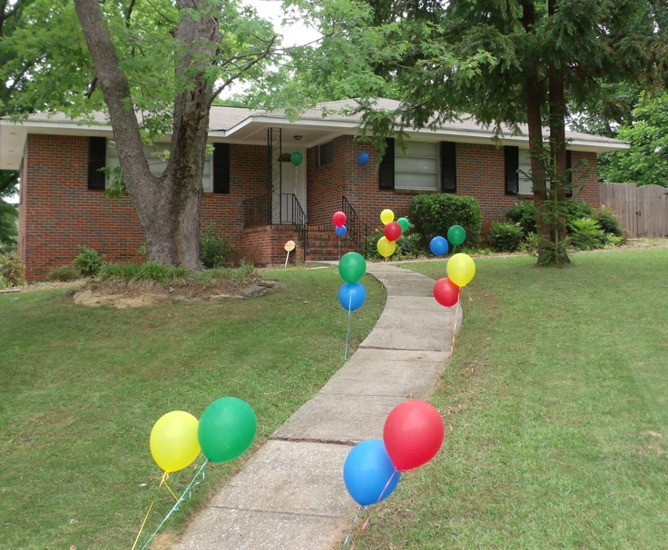 Use golf tees to hold balloons down and line the walkway for parties.  Transportation Birthday Party. 1st Birthday.  Eat. Play. Love.