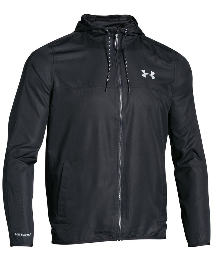 The lightweight wind and water-resistance of this Under Armour Storm windbreaker will keep you moving no matter the weather. | Polyester | Machine washable | Imported | Attached hood with drawstring |