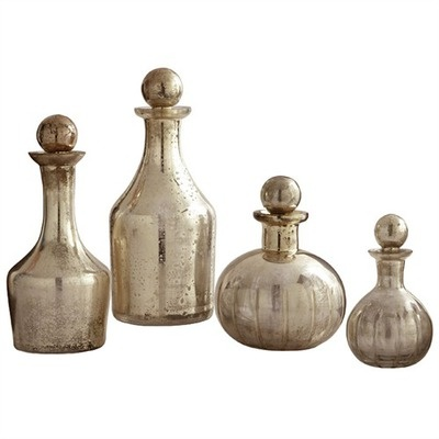 I like these designs for decanters- like they're potions or something. And I guess we'd use plastic?