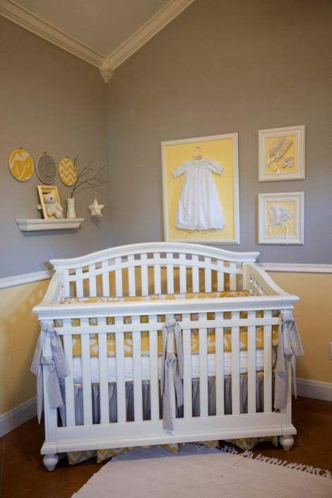 Frame Your Babies First Outfit And Hang It In The Nursery Cute Idea Lena Grey Yellow Baby