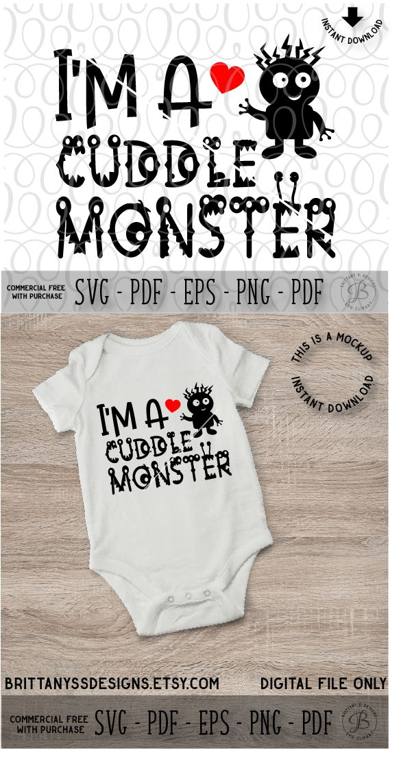 Cuddle Monster SVG, Monster SVG, Baby SVG, Baby Onsie SVG, Silhouette Cameo, Cricut