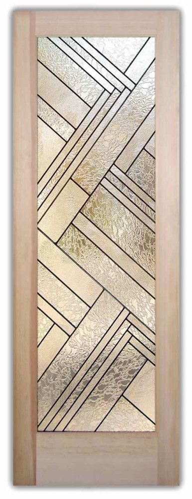 Z TEXTURES DOOR  - Stained - leaded glass door by Sans Soucie Art Glass. Leaded glass can be made up of   Colored, Clear smooth or Textured, Beveled glass.  The glass is cut and set together in a framework of strips of lead that are joined and soldered together.  Check out more doors like this in Sans Soucie's Door Designer where you can design and customize your own glass door!