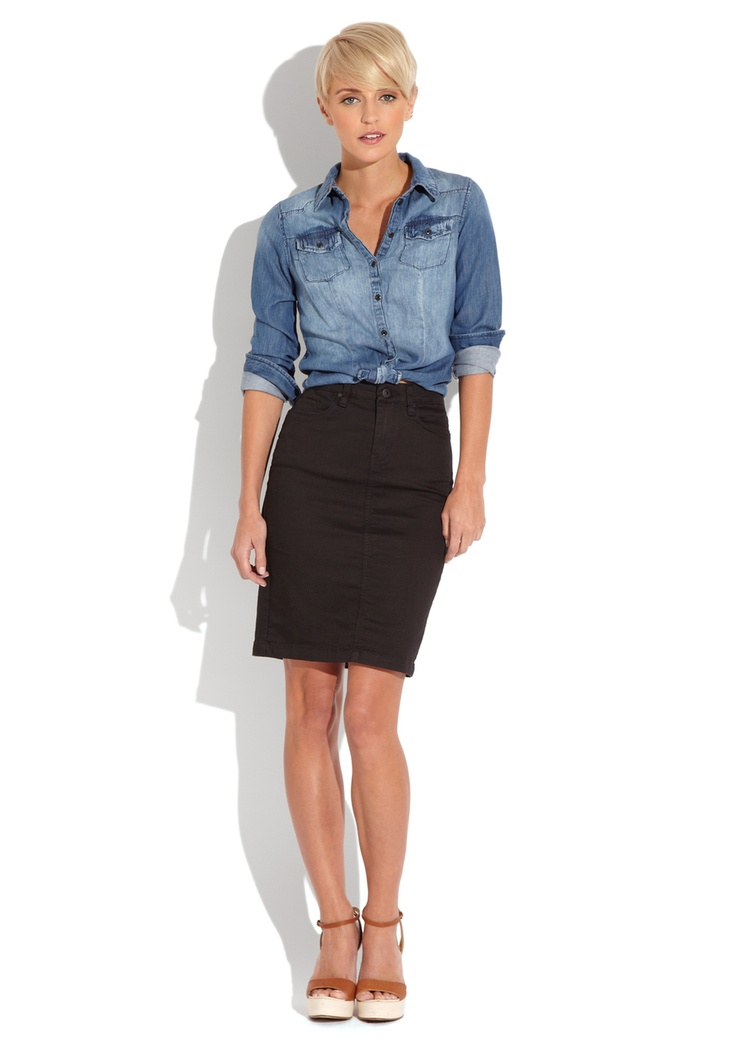 denim shirt with black skirt get in my closet