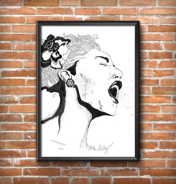 Poster Billie Holiday, jazz, singer, beautiful woman, jazz posters