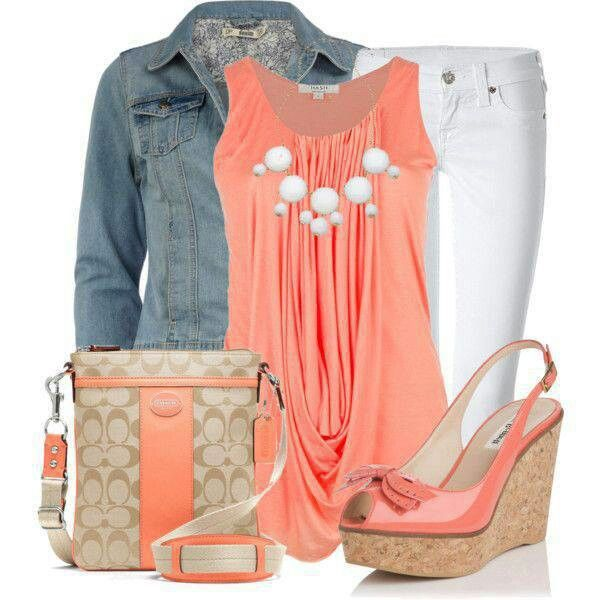 Love the shirt and shoes! Pink/orange outfit w/ white jeans and denim jacket