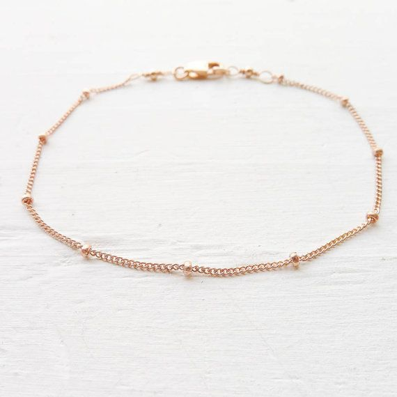 Rose Gold Bracelet or Anklet Dainy Minimal Beaded Chain Rosegold Filled Basic Jewelry
