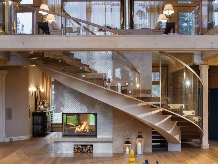 Фото интерьера лестничного холла дома в современном стиле Фото интерьера лестницы дома в современном стиле