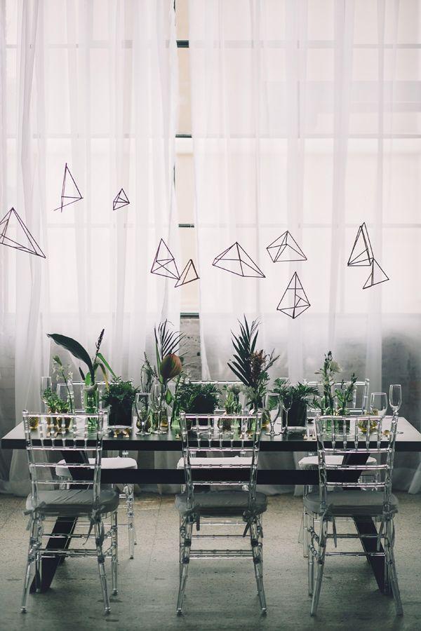 modern geometric wedding ideas - photo by Echard Wheeler Photography http://ruffledblog.com/modern-styled-engagement-party