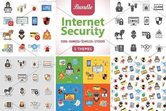 Internet Security Icons and Pattern by TAlex on @creativemarket