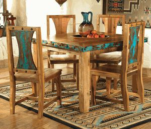 Azul Barnwood Table & Chairs - 5 pcs/Lone Star Western Decor
