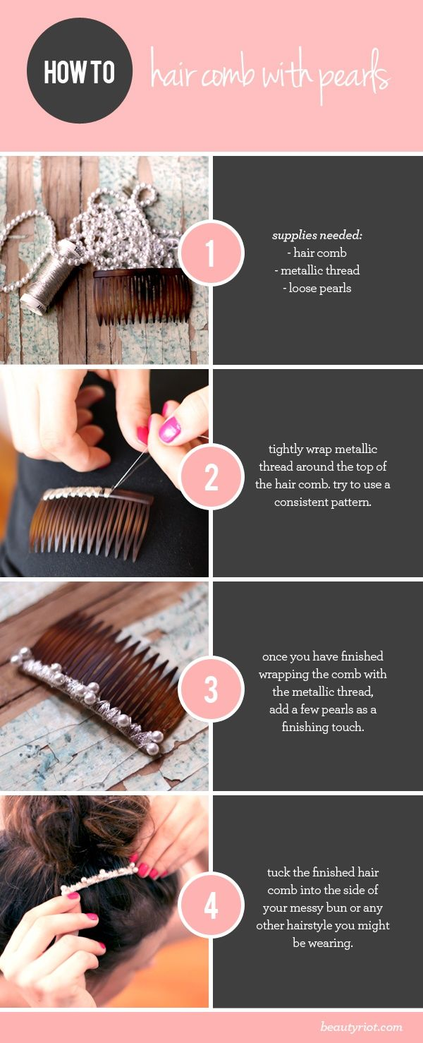 hair accessory diy hair comb with pearls