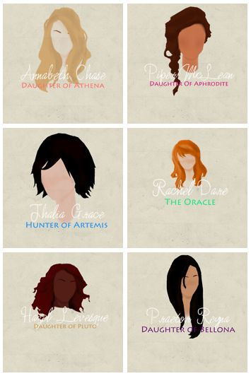 I ❤️ these pics but I think Rachel  should have frizzier and curlier hair and for Thalia it should say daughter of Zeus as well as hunter if Artemis
